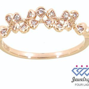 Solid Diamond Floral Fancy Ring Jewelry Rose Gold